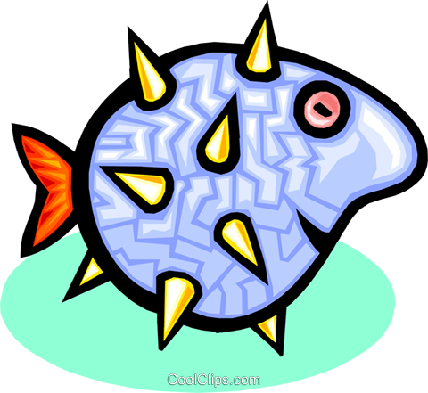 puff fish Royalty Free Vector Clip Art illustration anim1768
