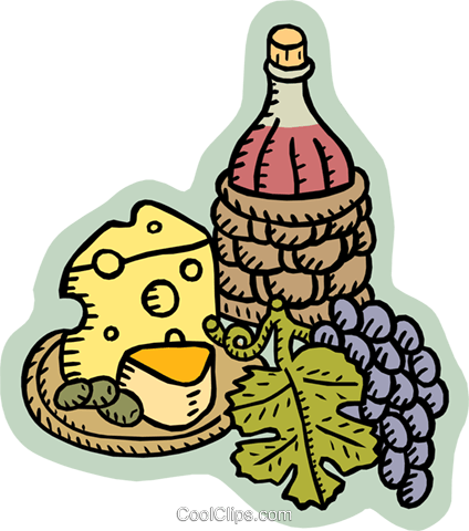 wine and cheese Royalty Free Vector Clip Art illustration food0928