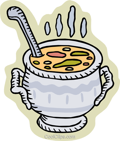 pot of soup Royalty Free Vector Clip Art illustration food0935
