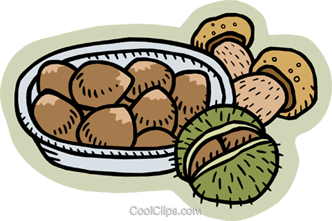 Nuts and mushrooms Royalty Free Vector Clip Art illustration food0939