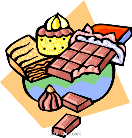 Chocolate bar and cupcake Royalty Free Vector Clip Art illustration food0957