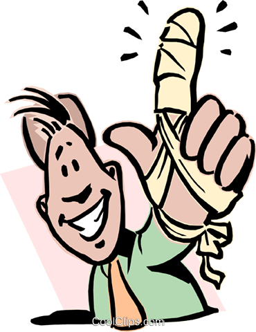 Man with broken finger Royalty Free Vector Clip Art illustration peop2744