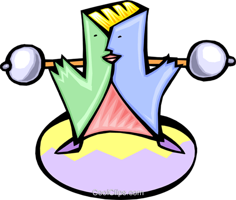 cartoon weight lifter Royalty Free Vector Clip Art illustration peop2820