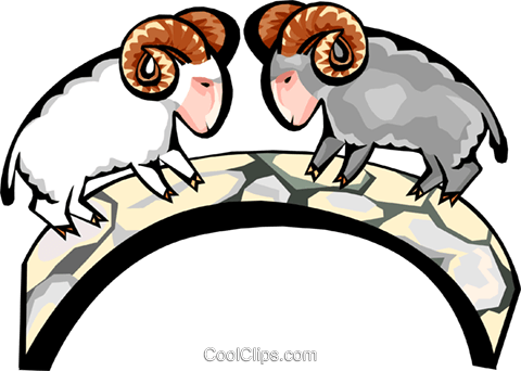 mountain goats rams Royalty Free Vector Clip Art illustration anim1781
