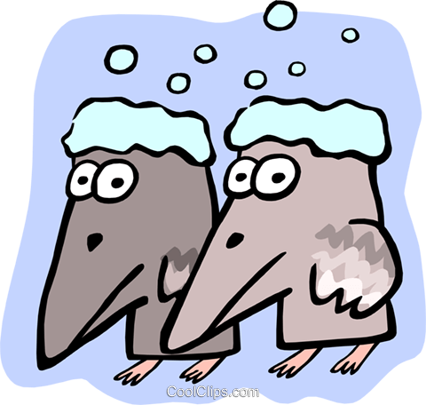 frosty crows Royalty Free Vector Clip Art illustration anim1799