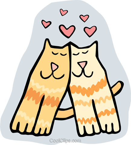 loving cats Royalty Free Vector Clip Art illustration anim1800
