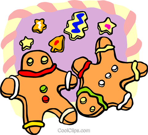 gingerbread men Royalty Free Vector Clip Art illustration food0962