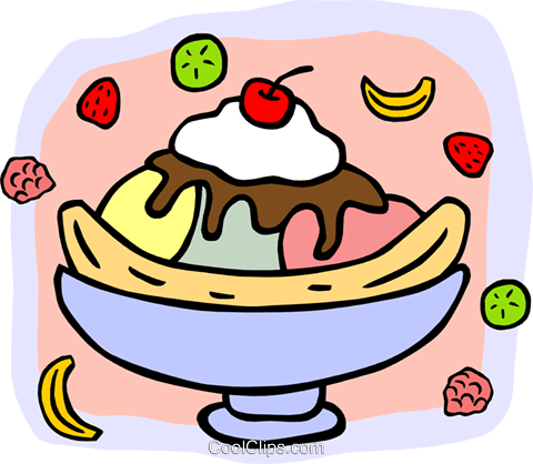 banana split topped with cherry Royalty Free Vector Clip Art illustration food0967