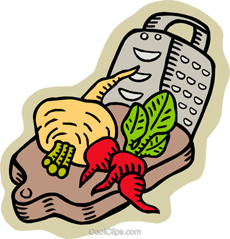 Vegetables with grater on cutting board Royalty Free Vector Clip Art illustration food0971