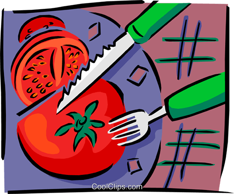 tomato being sliced Royalty Free Vector Clip Art illustration food0973