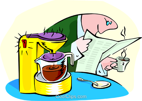 morning coffee Royalty Free Vector Clip Art illustration peop2841