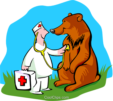 Veterinarian Checking On Bear Royalty Free Vector Clip Art