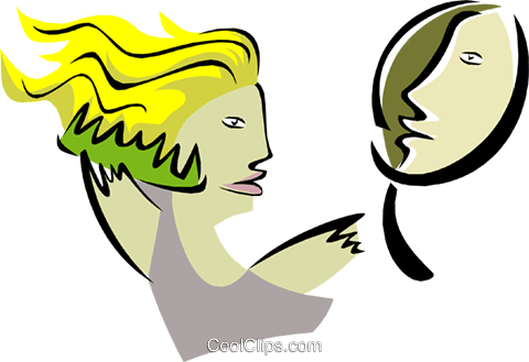 woman with mirror grooming Royalty Free Vector Clip Art illustration peop2886