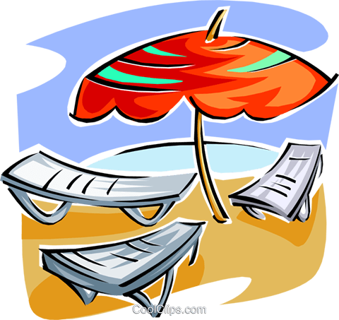 Beach chairs and umbrella Royalty Free Vector Clip Art illustration spor0334