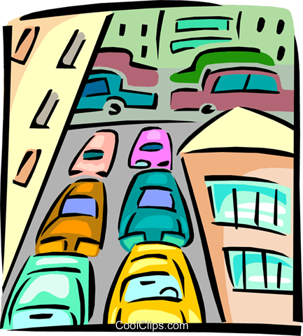 traffic congestion Royalty Free Vector Clip Art illustration tran0882