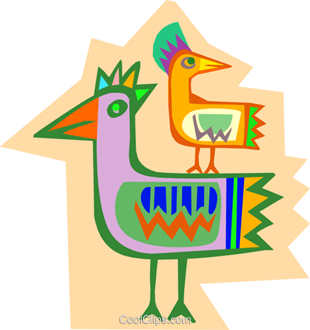 exotic birds Royalty Free Vector Clip Art illustration anim1827