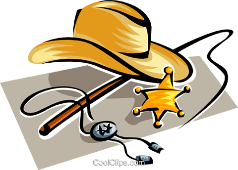 cowboy hat with sheriff badge Royalty Free Vector Clip Art illustration busi1509
