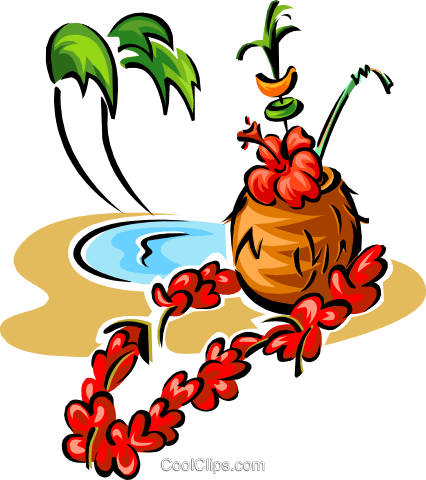 tropical drink with palm trees Royalty Free Vector Clip Art illustration food0984