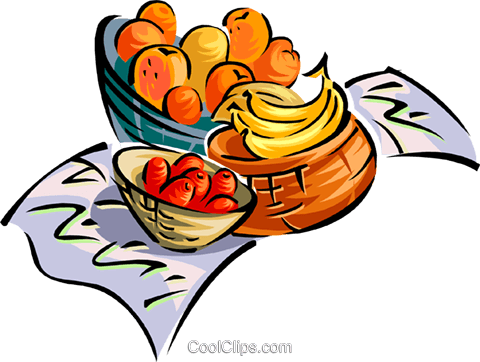 fruit basket Royalty Free Vector Clip Art illustration food0985