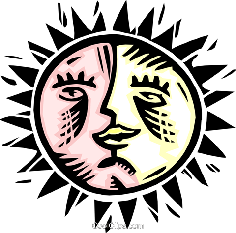 sun and moon combo Royalty Free Vector Clip Art illustration natu0816