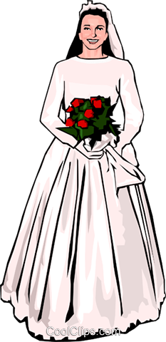 Bride with bouquet of flowers Royalty Free Vector Clip Art illustration peop2919