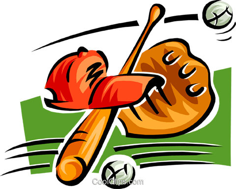 bat, ball, glove and hat Royalty Free Vector Clip Art illustration spor0357