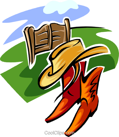 ranch design with hat and boots Royalty Free Vector Clip Art illustration spor0358