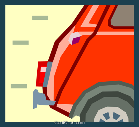 tail end of an mini car Royalty Free Vector Clip Art illustration tran0887