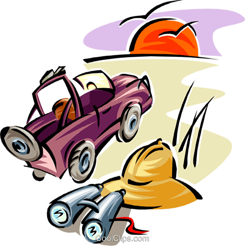 Travel design with safari jeep and hat Royalty Free Vector Clip Art illustration trav0071