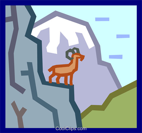 mountain goat concept Royalty Free Vector Clip Art illustration anim1858