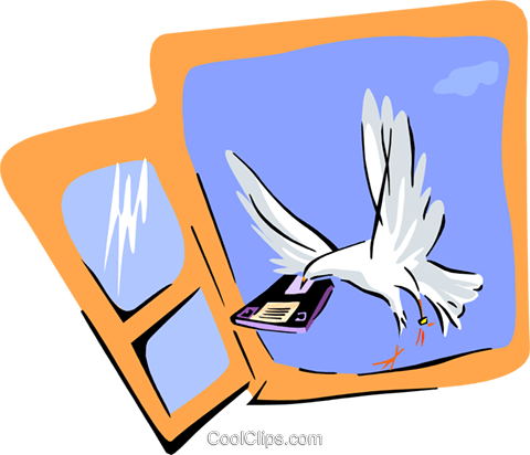 dove with computer disk Royalty Free Vector Clip Art illustration anim1860