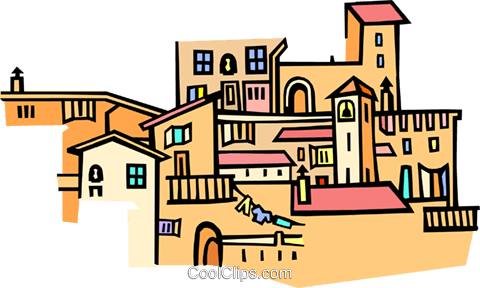 Mediterranean architecture Royalty Free Vector Clip Art illustration arch0456