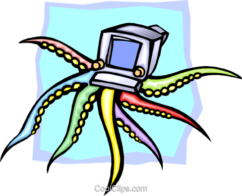 octopus computer concept Royalty Free Vector Clip Art illustration busi1519
