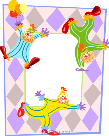 Birthday party clown background Royalty Free Vector Clip Art illustration divi0053