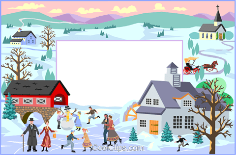 Text aid backdrop/winter scene Royalty Free Vector Clip Art illustration divi0056