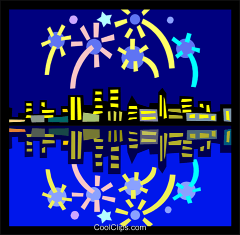 Fireworks over the city Royalty Free Vector Clip Art illustration ente0105