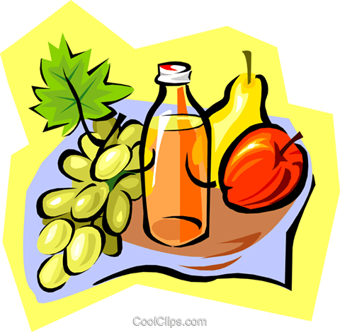 juice and fruits Royalty Free Vector Clip Art illustration food0988