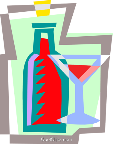 wine and glass Royalty Free Vector Clip Art illustration food0993