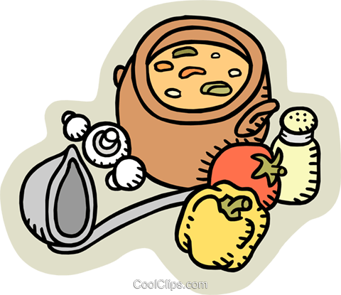 homemade soup Royalty Free Vector Clip Art illustration food1001