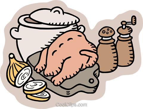 chicken soup preparations Royalty Free Vector Clip Art illustration food1002