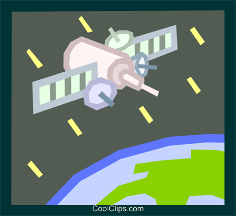 satellite in space Royalty Free Vector Clip Art illustration indu0863