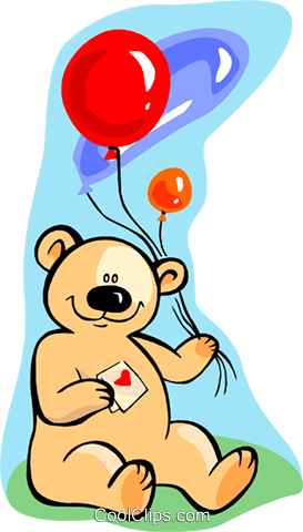 teddy bear with balloons Royalty Free Vector Clip Art illustration spec0255
