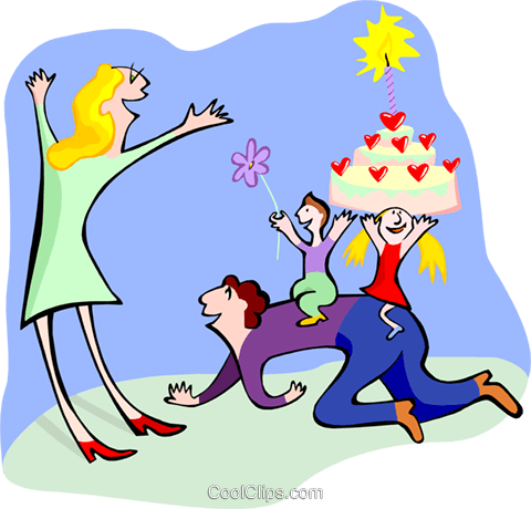 family with a party cake Royalty Free Vector Clip Art illustration spec0256