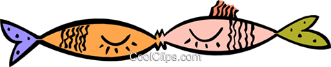 kissing fish Royalty Free Vector Clip Art illustration anim1883
