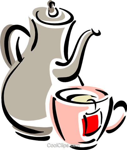 teapot and cup Royalty Free Vector Clip Art illustration food1022