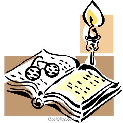 book, candle and glasses Royalty Free Vector Clip Art illustration hous1269
