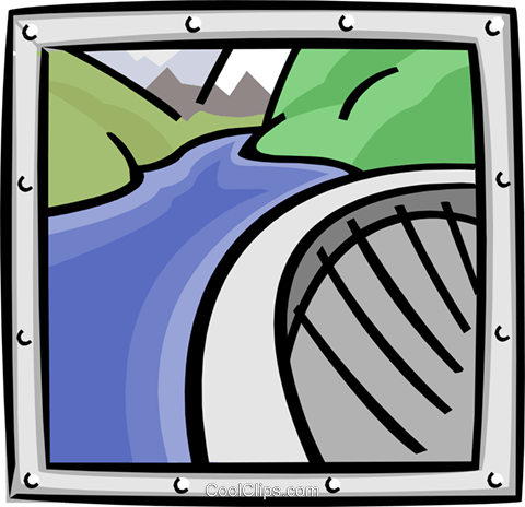 dam and river Royalty Free Vector Clip Art illustration indu0877