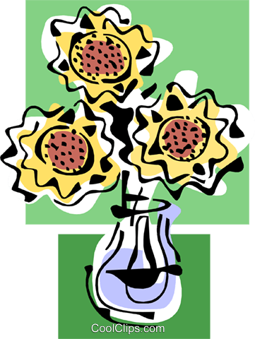 daisies in vase Royalty Free Vector Clip Art illustration natu0837