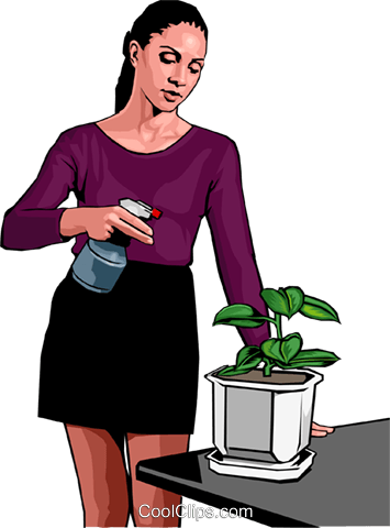 spraying the houseplants Royalty Free Vector Clip Art illustration peop3008