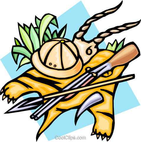 The safari with tiger skin, spear and gun Royalty Free Vector Clip Art illustration trav0076